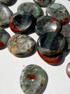 Bloodstone Jasper Worry Stone | Large - Unearthed Crystals