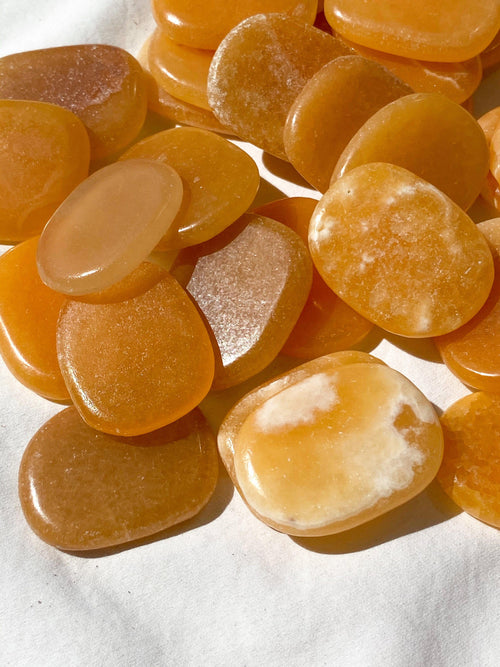Orange Calcite Flat Palm Stone - Unearthed Crystals
