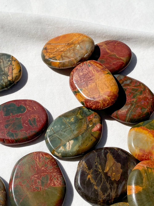 Cherry Creek Jasper Flat Palm Stone - Unearthed Crystals