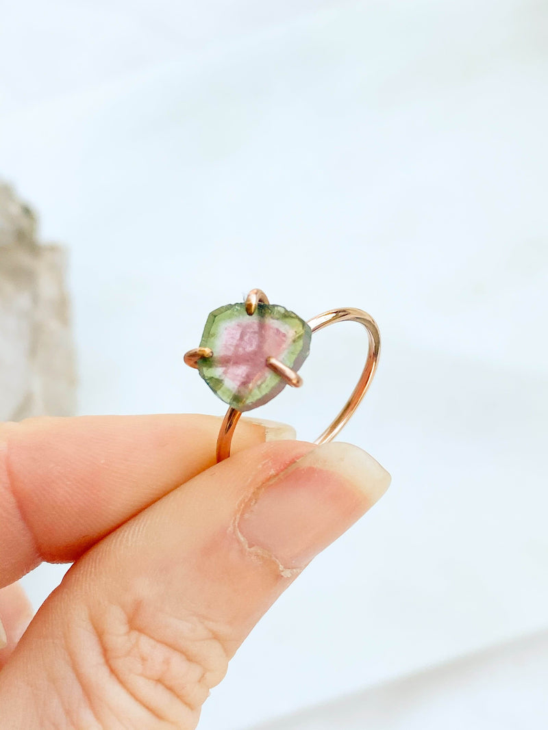 Watermelon Tourmaline Ring | Gold | Size 8 - Unearthed Crystals