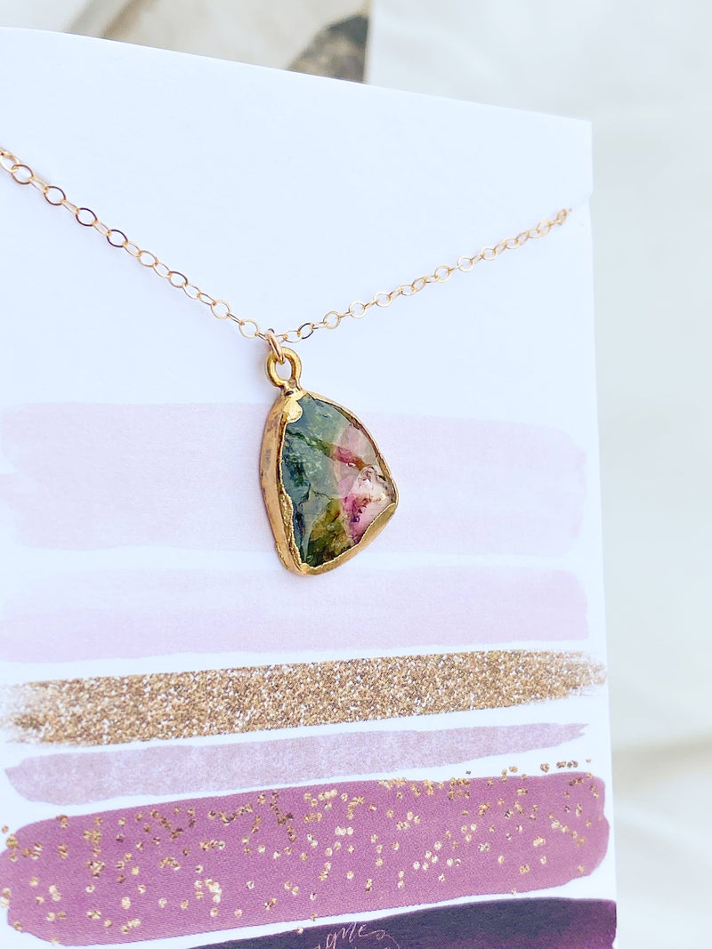 Tri-color Tourmaline Necklace - Unearthed Crystals