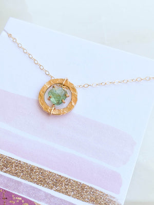 Rose Cut Tourmaline Circle Necklace | Gold - Unearthed Crystals