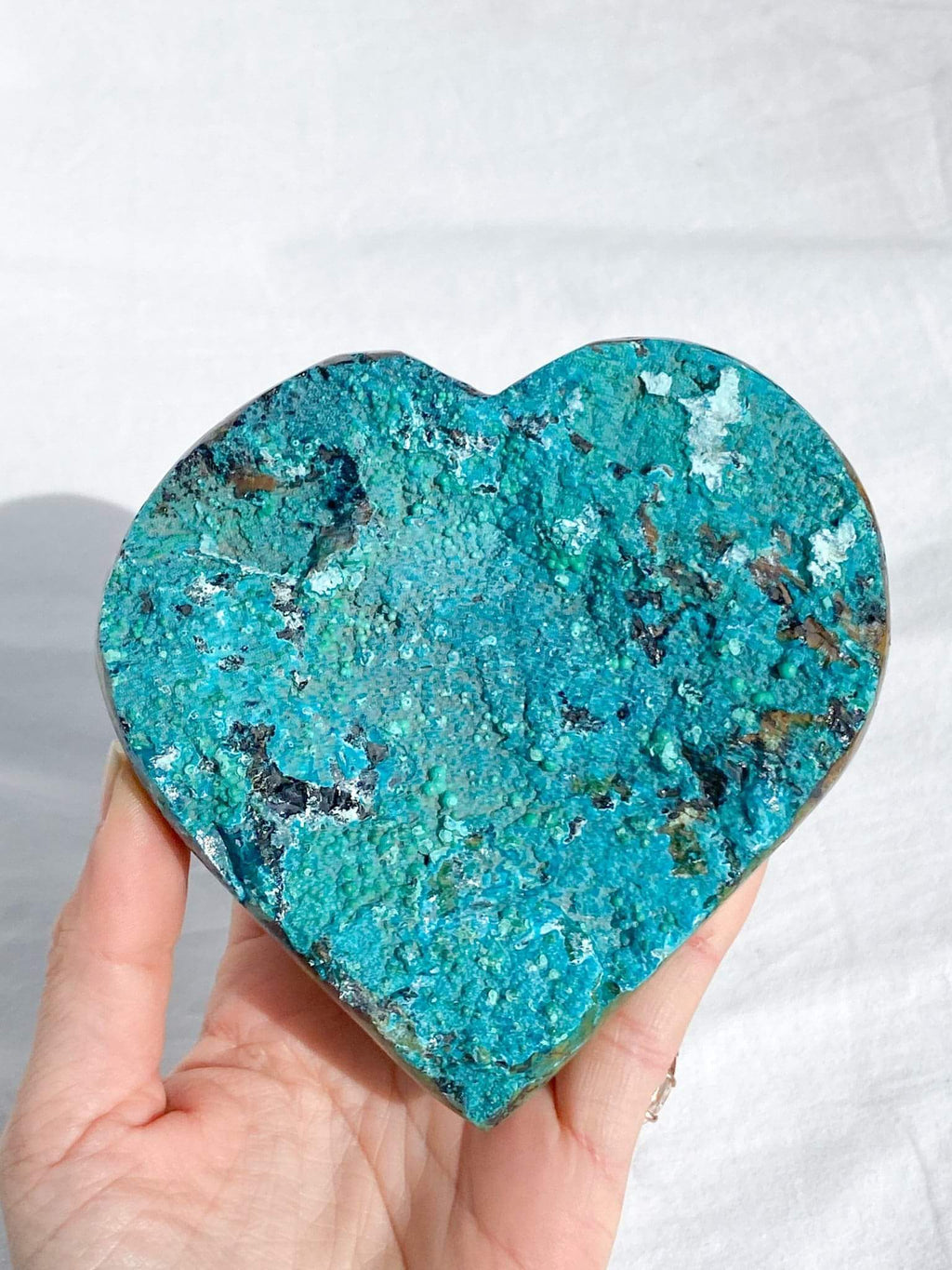 Raw Chrysocolla + Malachite in Matrix Heart - Unearthed Crystals