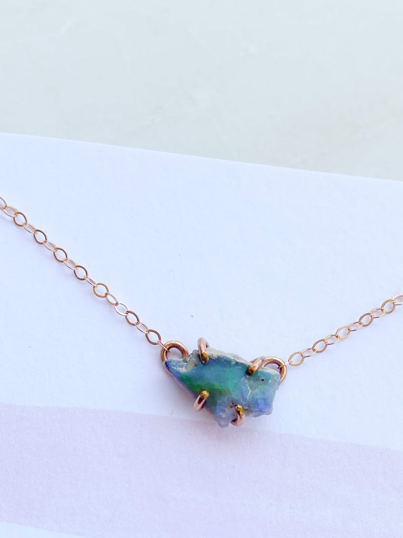 Boulder Opal Necklace | Rose Gold - Unearthed Crystals
