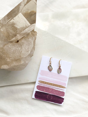 Pink + Blue Tourmaline Earrings | Gold - Unearthed Crystals