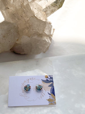 Blue Tourmaline Stud Earrings | Gold - Unearthed Crystals