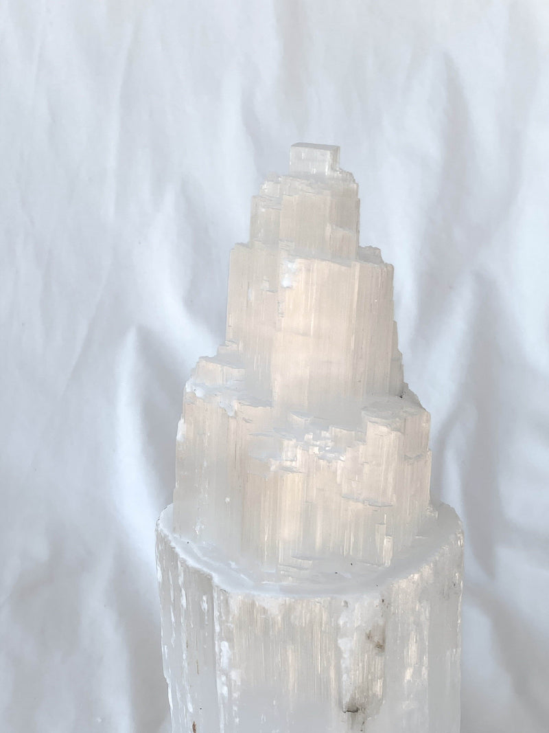 Selenite Lamp | Single Tower - Unearthed Crystals