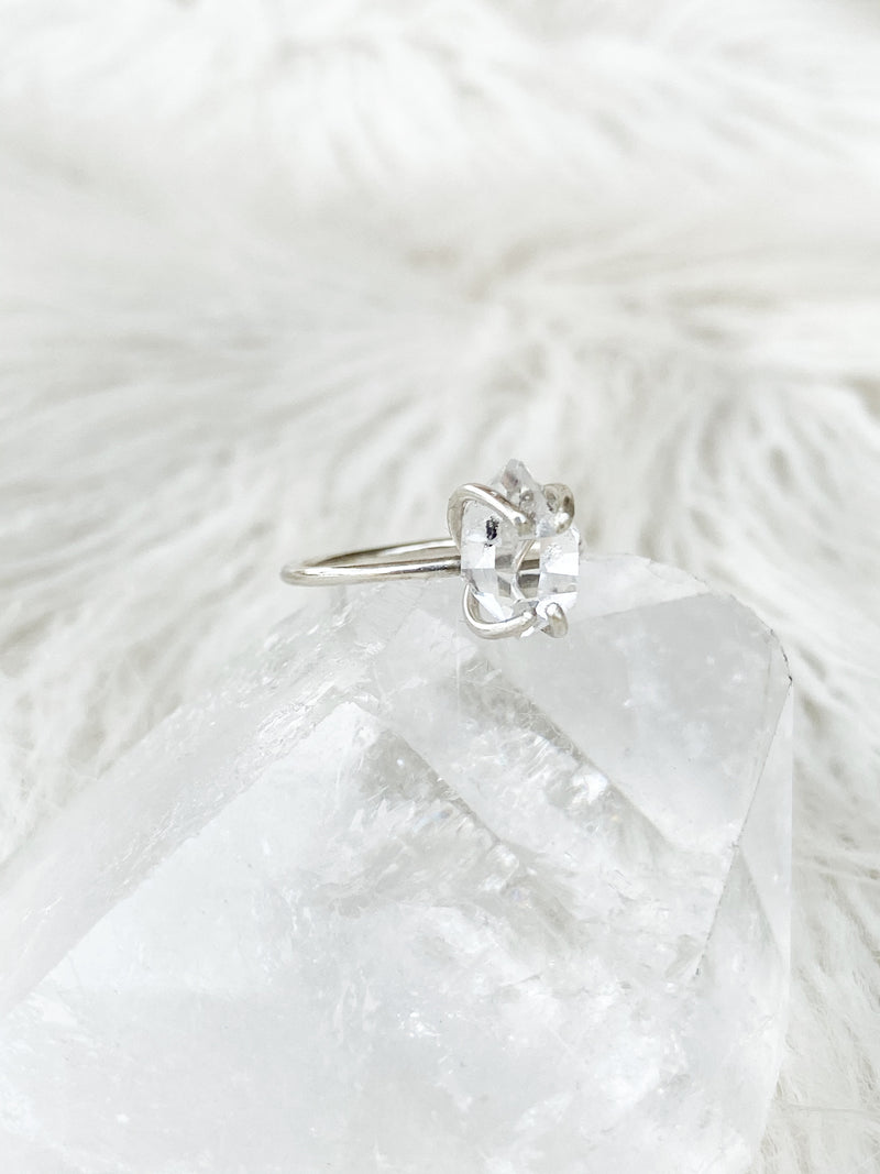 Herkimer Diamond Ring | Sterling Silver | Size 4 - Unearthed Crystals