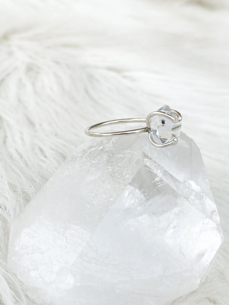 Herkimer Diamond Ring Size 6 | Silver - Unearthed Crystals