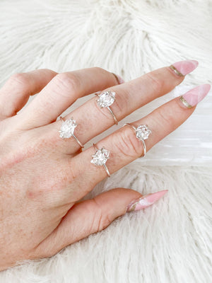 Herkimer Diamond Ring | Sterling Silver | Size 6 - Unearthed Crystals