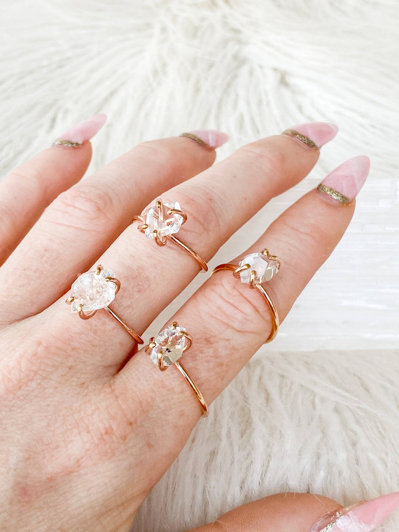 Herkimer Diamond Ring | Rose Gold | Size 7 - Unearthed Crystals