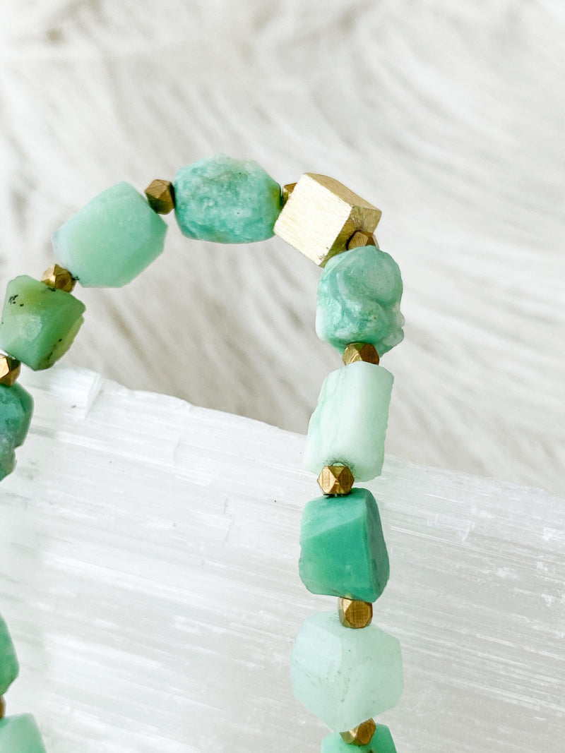 Raw Chrysoprase Stretch Bracelet - Unearthed Crystals