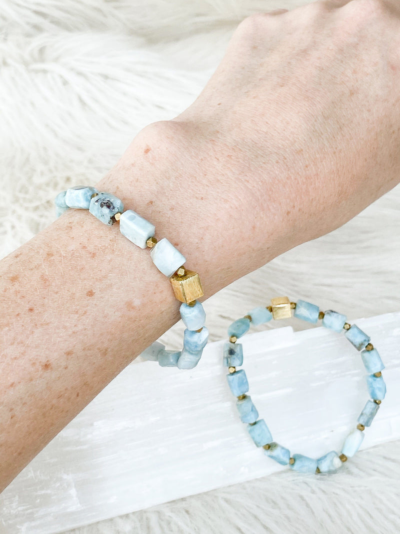 Raw Larimar Stretch Bracelet - Unearthed Crystals