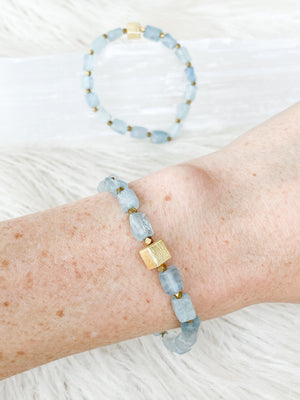 Raw Aquamarine Stretch Bracelet - Unearthed Crystals