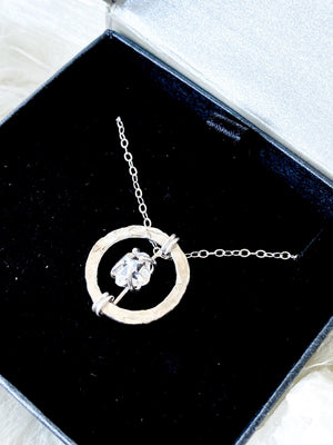 Herkimer Diamond Circle Necklace | Sterling Silver - Unearthed Crystals