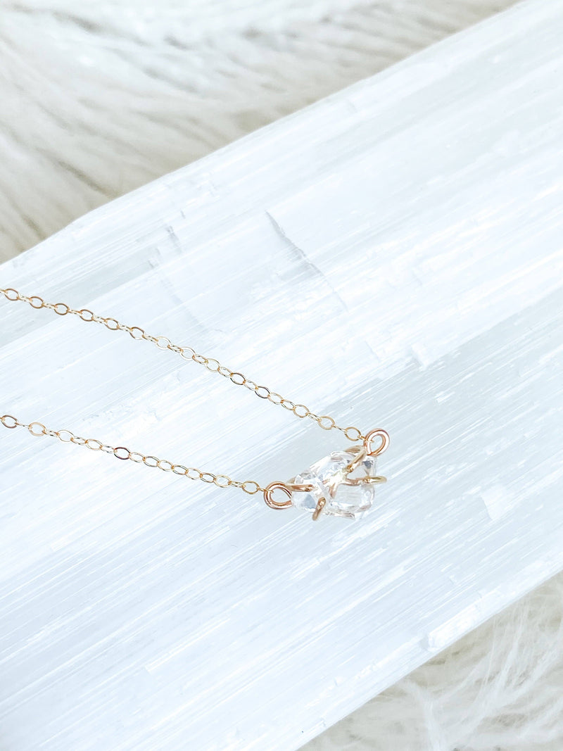 Herkimer Diamond Pendant Necklace |Gold - Unearthed Crystals