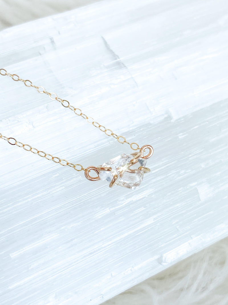Herkimer Diamond Pendant Necklace | Gold - Unearthed Crystals