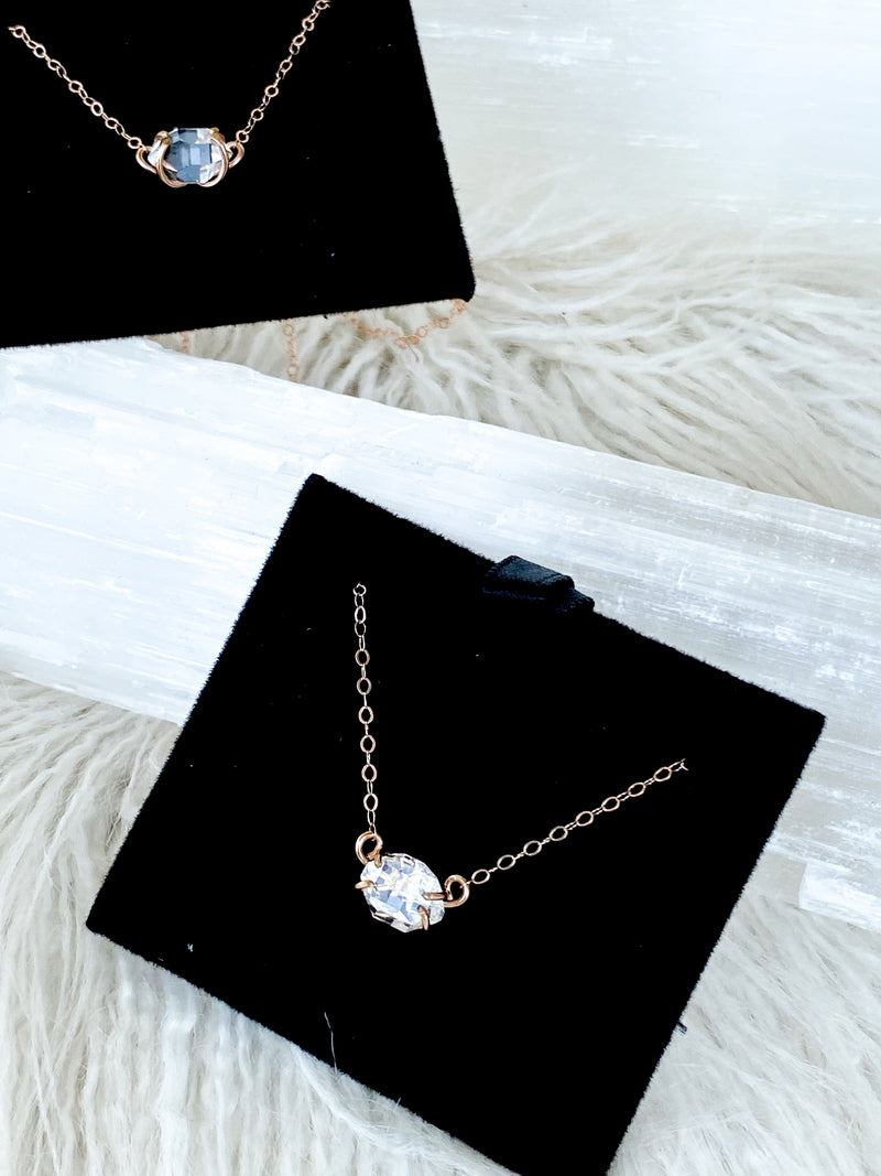 Herkimer Diamond Pendant Necklace | Rose Gold - Unearthed Crystals