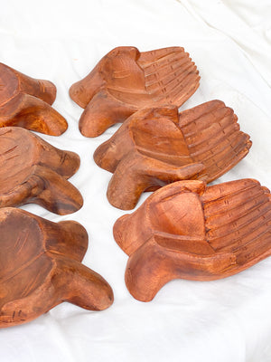 Giving Hands Bowl | Stained Teak - Unearthed Crystals