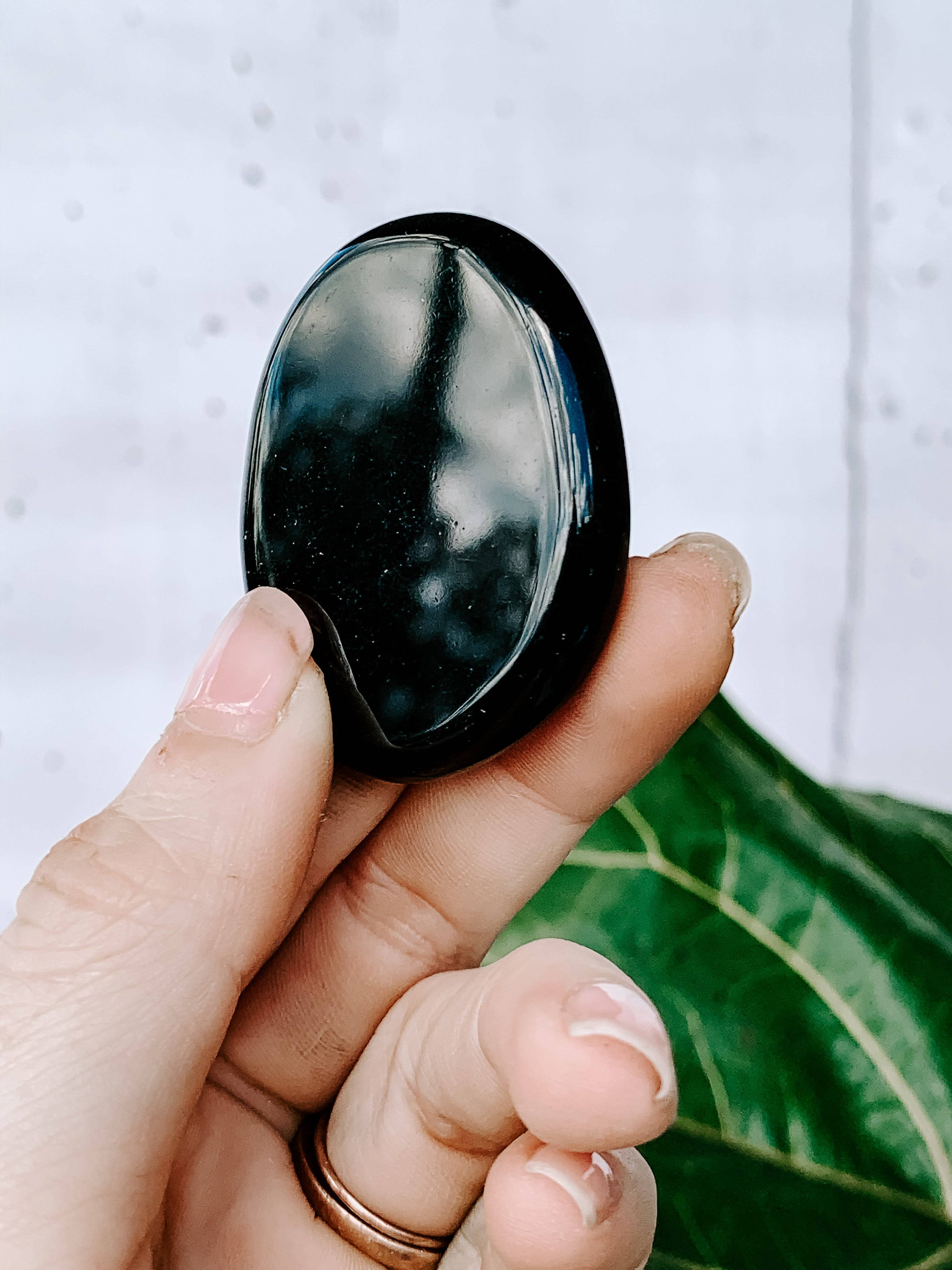 Black Obsidian Flat Palm Stones - Unearthed Crystals