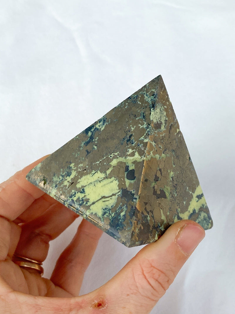 Serpentine + Pyrite Pyramid - Unearthed Crystals