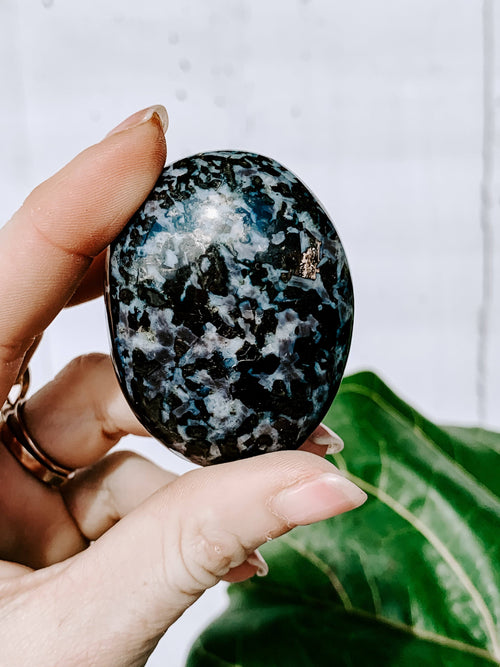 Indigo Gabbro Palm Stone | Extra Small - Unearthed Crystals