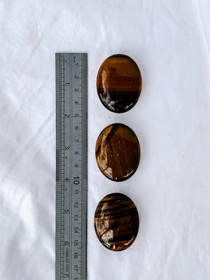 Tigers Eye Pillow Palm Stone - Unearthed Crystals