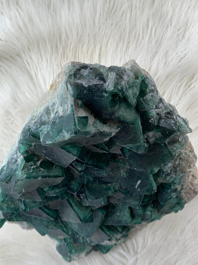 Green Madagascar Fluorite Cluster - Unearthed Crystals