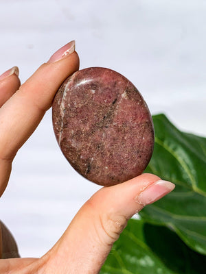 Rhodonite Pillow Palm Stone - Unearthed Crystals