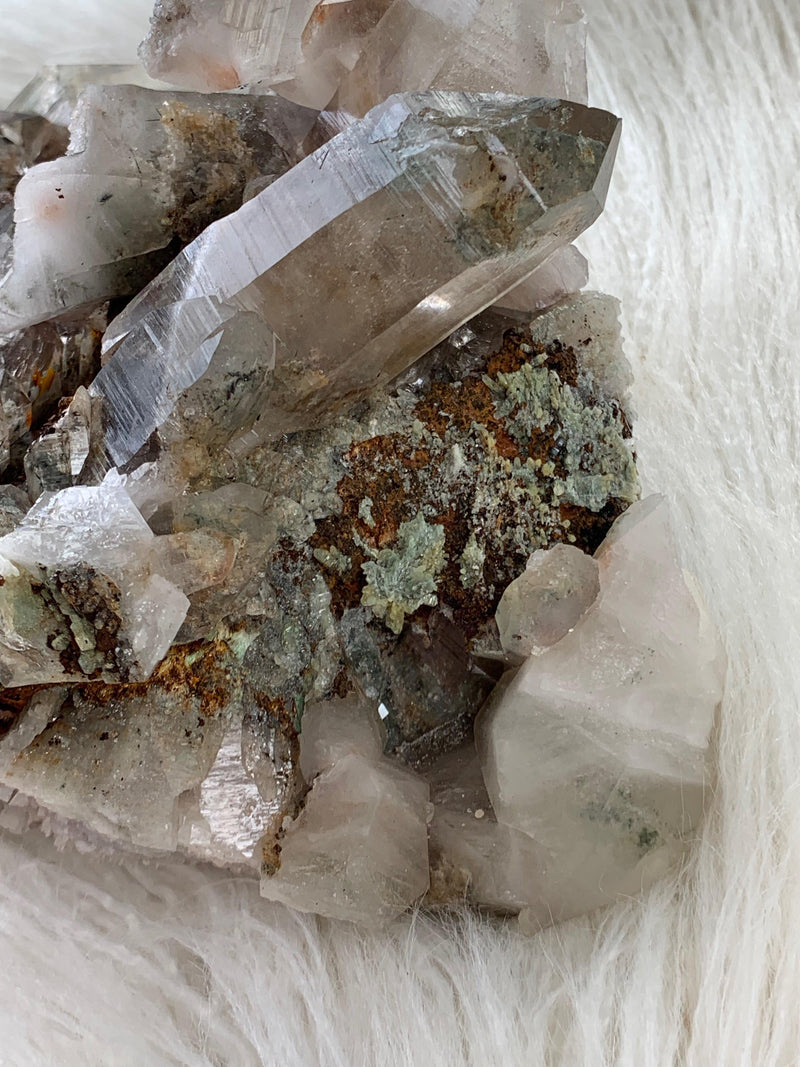 Green Chlorite in Quartz Cluster - Unearthed Crystals