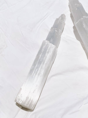 Selenite Tower Carving | Extra Large - Unearthed Crystals