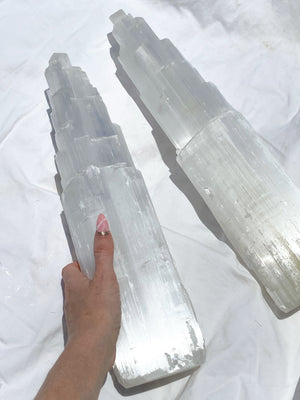 Selenite Tower Carving | XXL - Unearthed Crystals