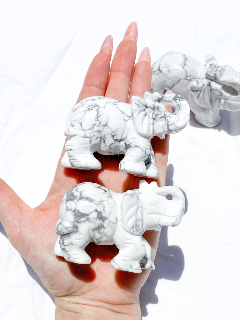 Howlite Elephant Carving | Large - Unearthed Crystals