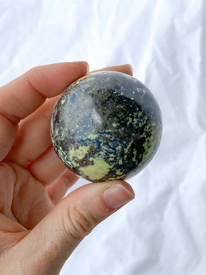 Serpentine + Pyrite Sphere - Unearthed Crystals