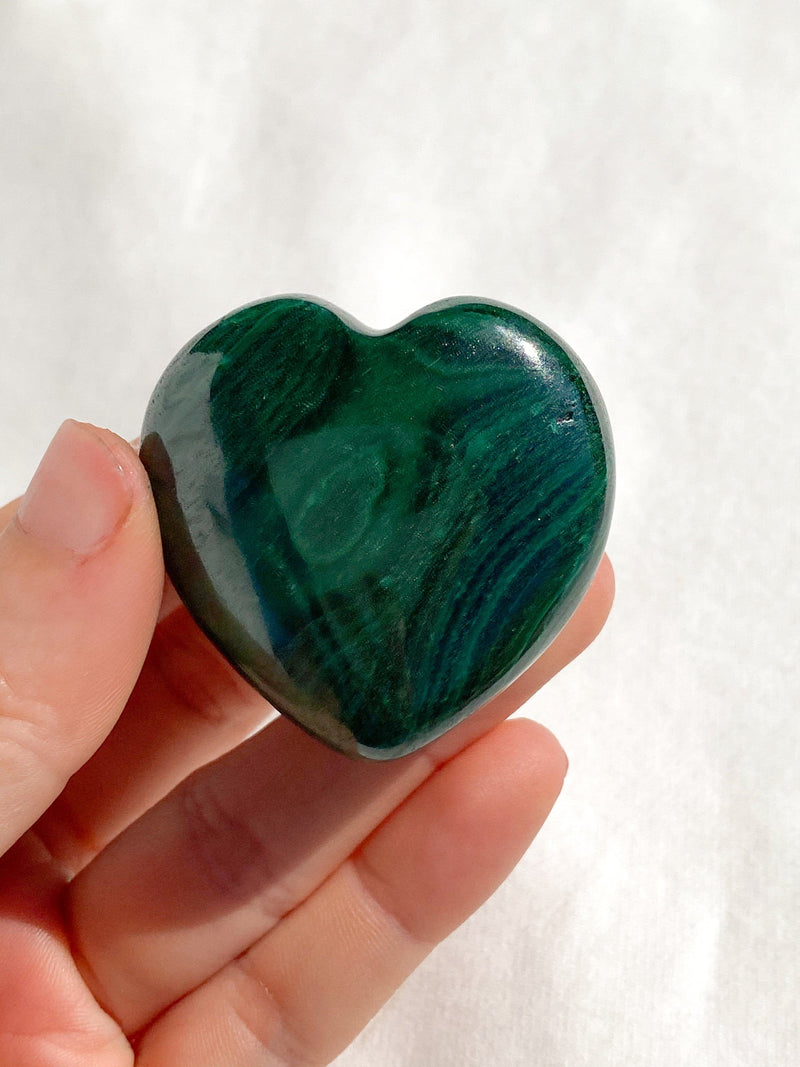 Malachite Heart | Hand Carved - Unearthed Crystals