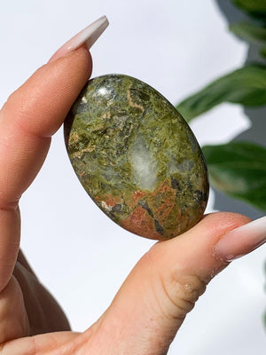 Unakite Pillow Palm Stone - Unearthed Crystals