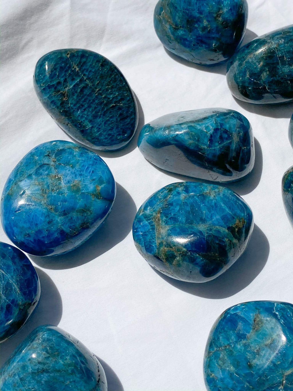 Blue Apatite Palm Stone | Large - Unearthed Crystals