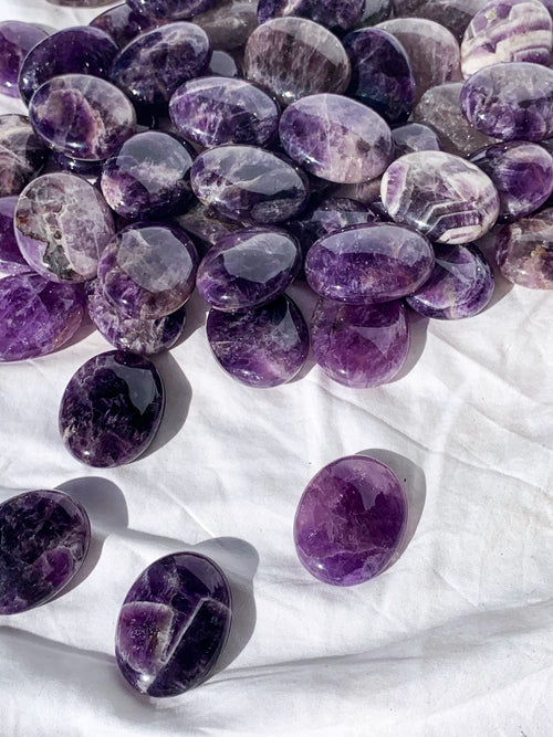 Amethyst Pillow Palm stone - Unearthed Crystals