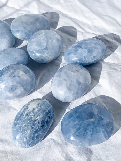 Blue Calcite Palm Stone | Large - Unearthed Crystals