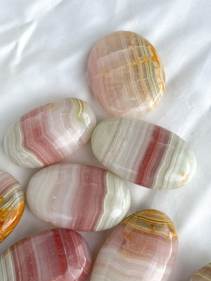 Pink Calcite Palm Stone | Large - Unearthed Crystals