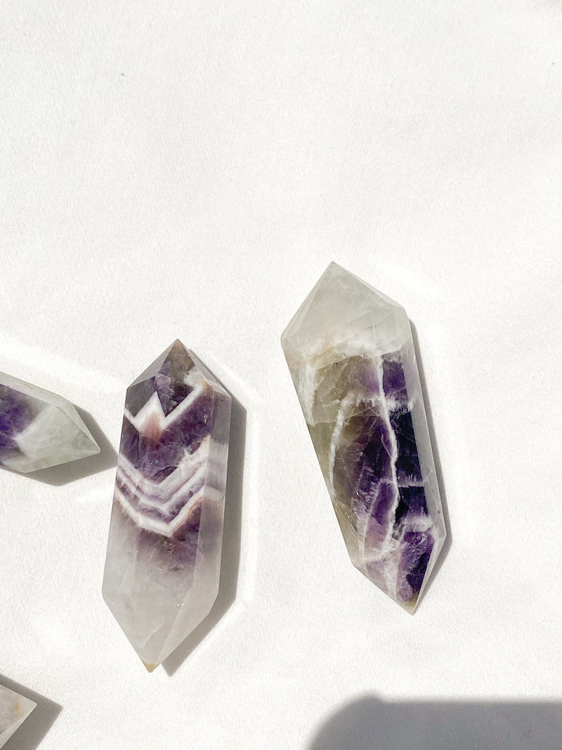 Prasiolite + Dream Amethyst Double Terminated Point | Small - Unearthed Crystals