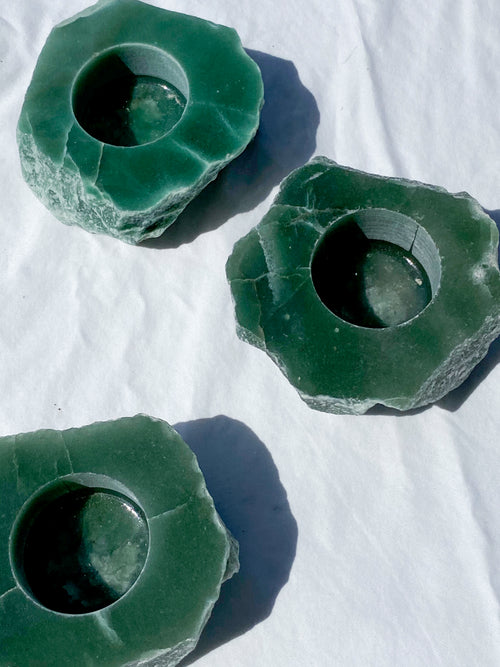 Green Aventurine Tealight Candle Holder - Unearthed Crystals
