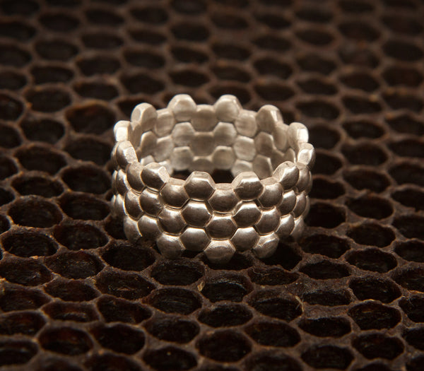 Stacking hexagon rings cast in sterling silver