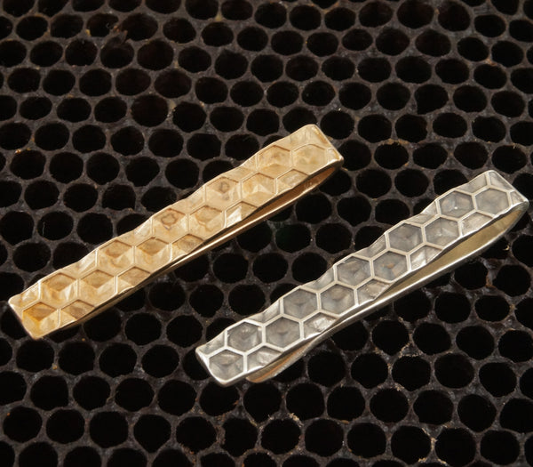 Honeycomb tie bar cast in solid sterling silver