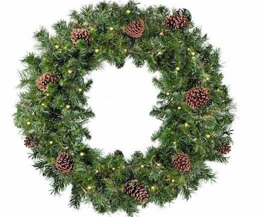 "36"" LED Mixed Pine Wreath - Forever LED Christmas Lights"