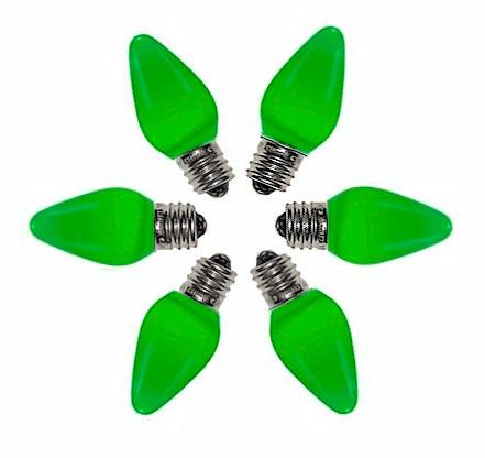 C7 Green Opaque LED Bulbs - Forever LED Christmas Lights