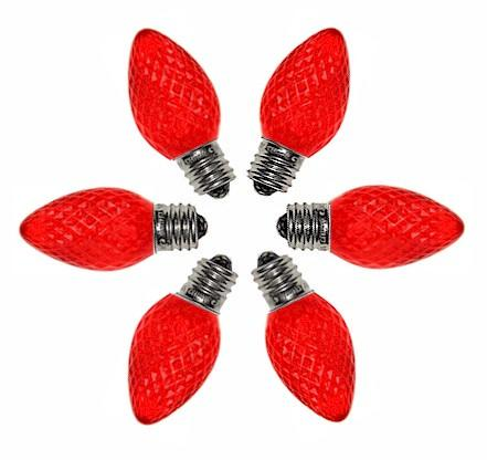 C7 Faceted Red LED Bulbs - Forever LED Christmas Lights