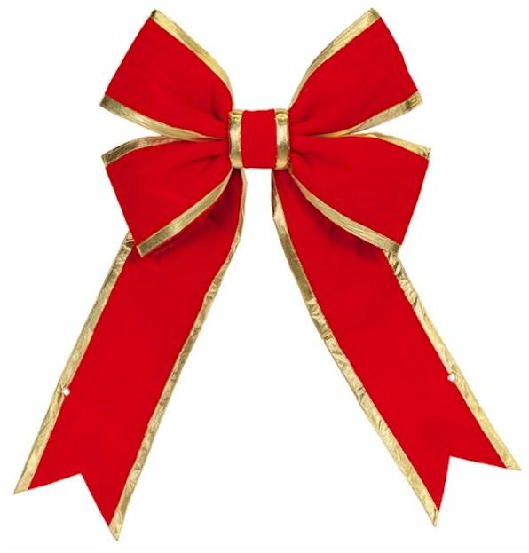 Red with Gold Trim Structural 3D Nylon or Velvet Bow