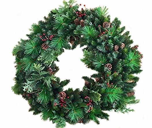 "24"" Un-Lit Woodland Blend Wreath - Forever LED Christmas Lights"