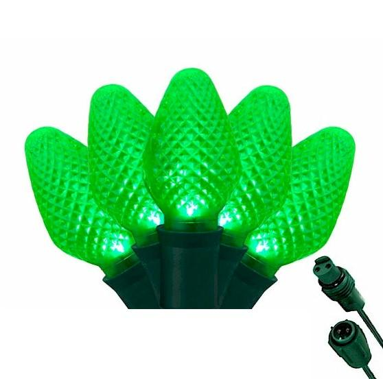 C7 Green 25 LED Tree Lights – Commercial String Lights